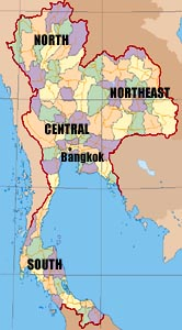 Map showing regions of Thailand